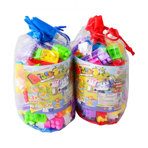 Mainan Bricks Blocks Happy Time isi 114pcs