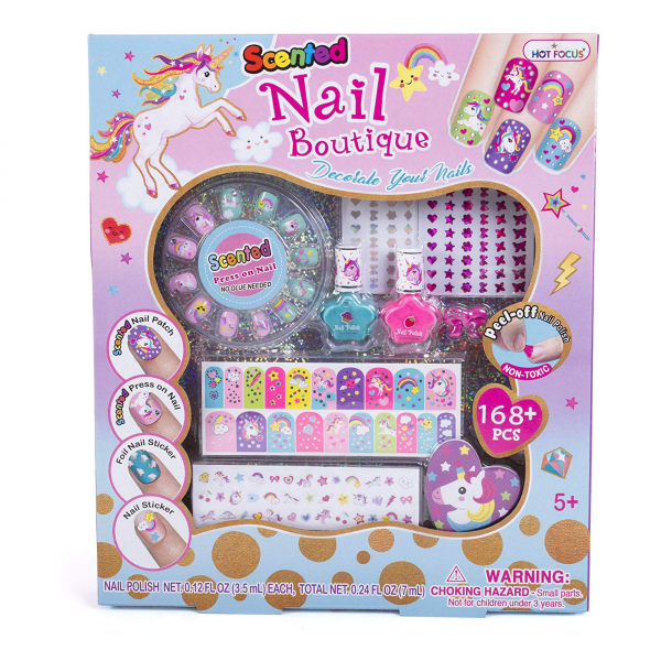 Mainan Kutek Anak Scented Nail Boutique 168pcs Unicorn Nail Art Kit