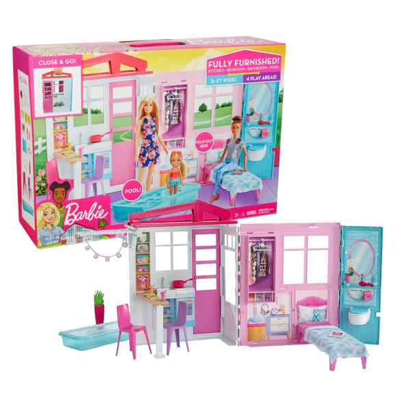 Rumah Boneka Barbie Fully Furnished Close & Go House with Themed Accessories
