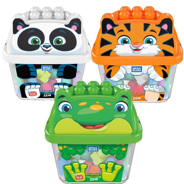 Mega Bloks Animal Bucket Smiley Tiger / Playful Panda / Friendly Frog - Mainan Balok Anak