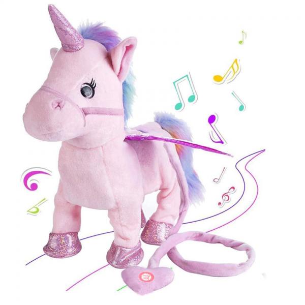 Boneka Electric Walking Unicorn Bisa Jalan Ada Musik 30cm