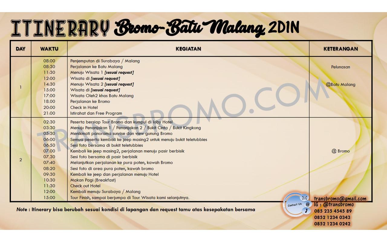 Transbromo Com Paket Wisata Bromo Batu Malang 2d1n