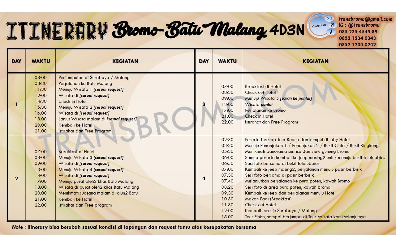 Transbromo Com Paket Wisata Bromo Batu Malang 4d3n