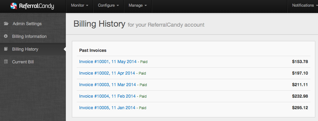 Billing History Page