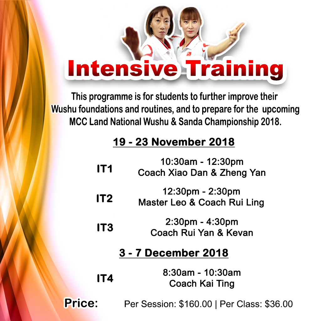 A series of intensive training to aid students in perfecting their Wushu routines for the upcoming MCC Land National Wushu and Sanda Championship 2018.