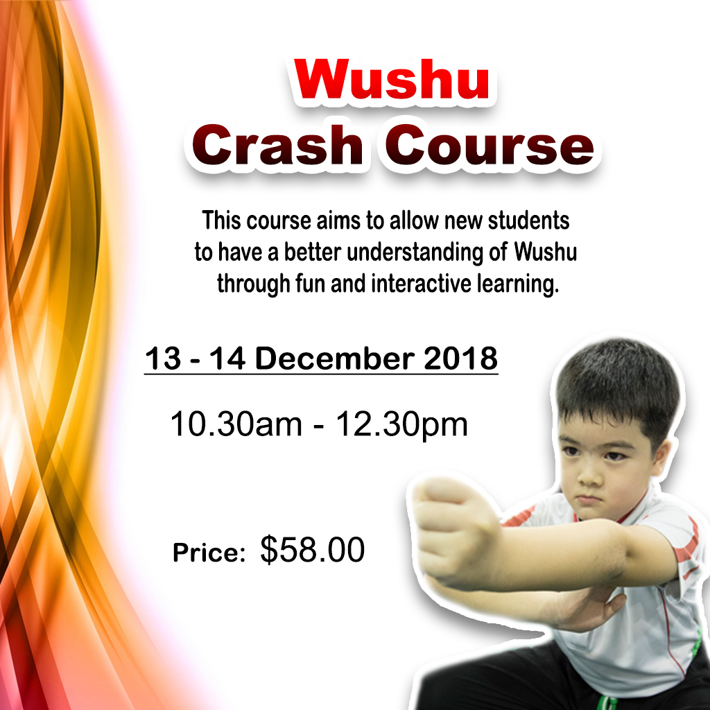 A 2-day introductory course for participants to learn about and have hands-on experience with Wushu! Besides the basic stances and forms, participants will also learn about martial morality and utilise weapons of the Chinese martial arts.