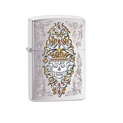 Zippo Windproof Day Of The Dead Jeweled Skull Lighter.png