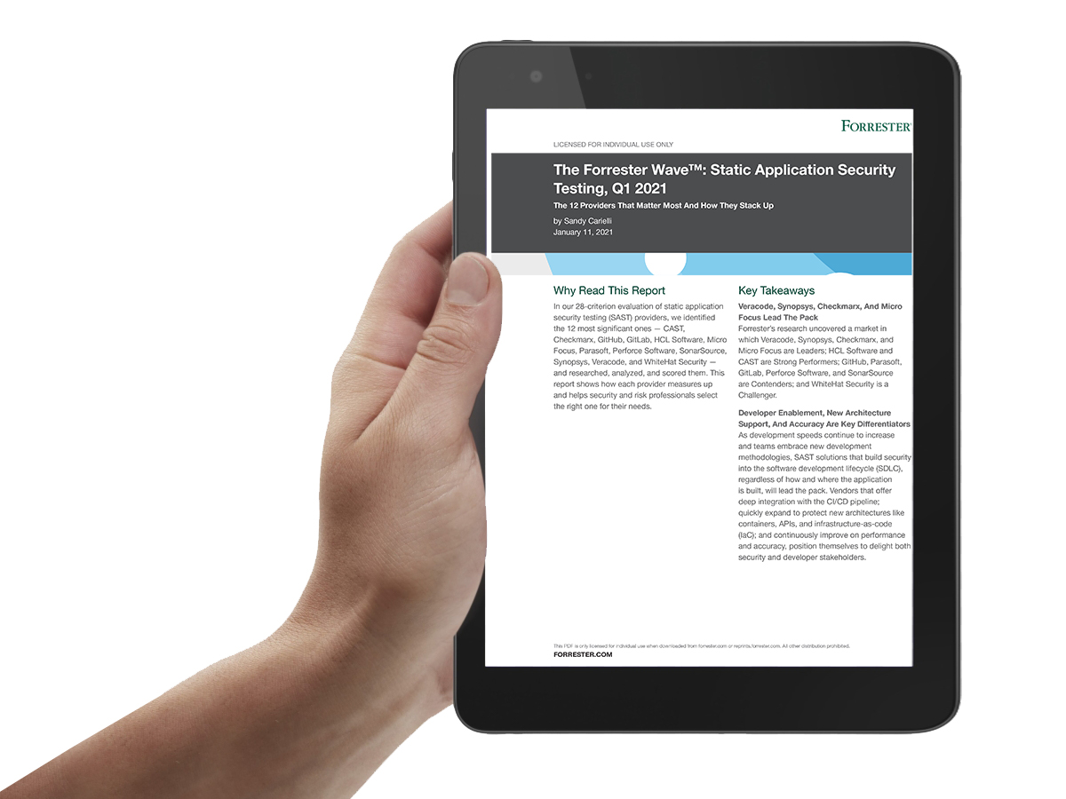 The Forrester Wave: Static application security testing, Q1 2021