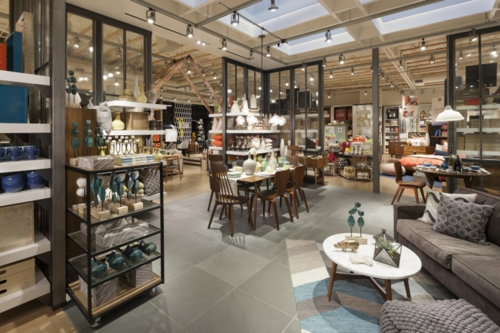 Interior home store west elm home furnishings store mbh architects alameda model central park Model home furniture outlet