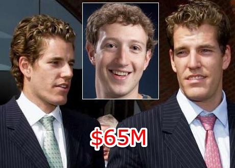 Mark Zuckeburg bị tố ăn cắp ý tưởng của 2 anh em sinh đôi. Vụ kiện này khiến Facebook thiệt hại 65 triệu USD