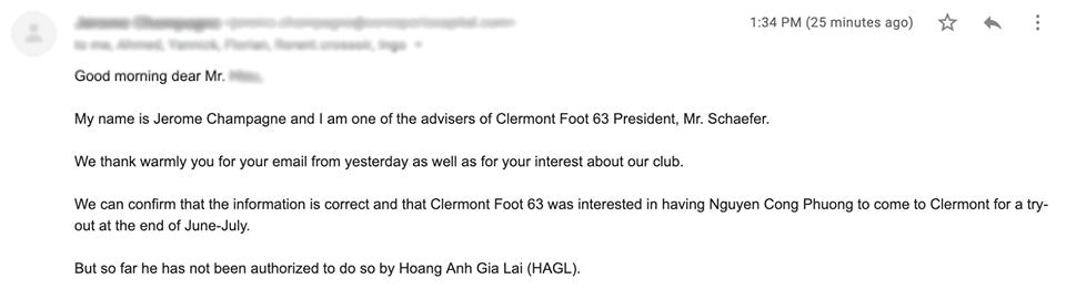 Email xác nhận từ đại diện Clermont Foot 63