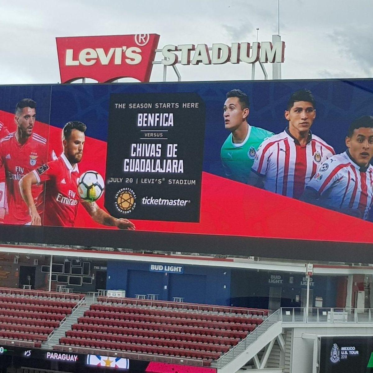 Benfica vs Chivas sẽ đối đầu trên SVĐ Levi's, Santa Claura, Mĩ