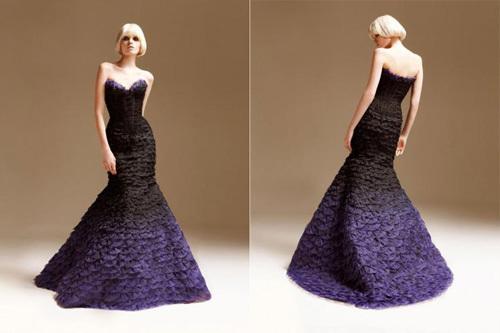 Váy cưới quây đuôi cá màu Ombre quyến rũ và hút mắt.