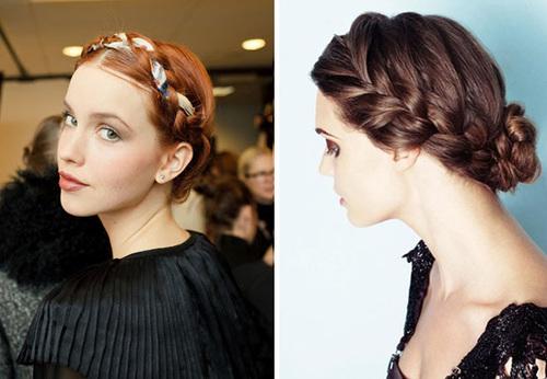 Kiểu tóc tết và quấn quanh đầu dành cho những cô dâu thích sự đơn giản, nhẹ nhàng.