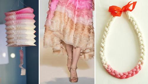 Bên cạnh chiếc váy cưới, những vật trang trí trong đám cưới có thể sử dụng cùng tông màu Ombre.
