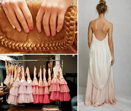 Kiểu váy màu Ombre khiến cô dâu nổi bật, dù chọn tông màu nhạt.