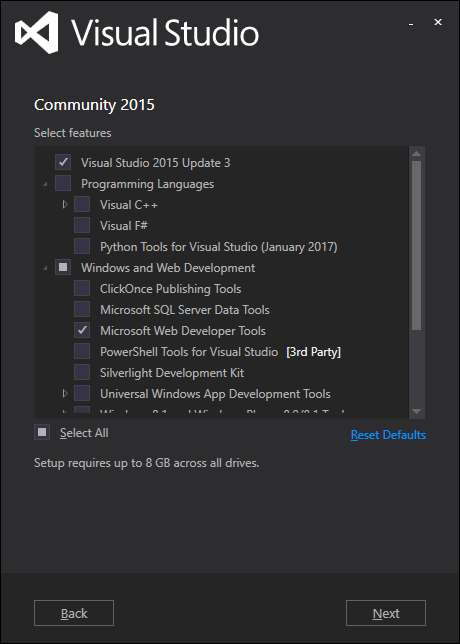 launch page Visual Studio