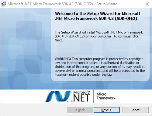 install .NET Microframework
