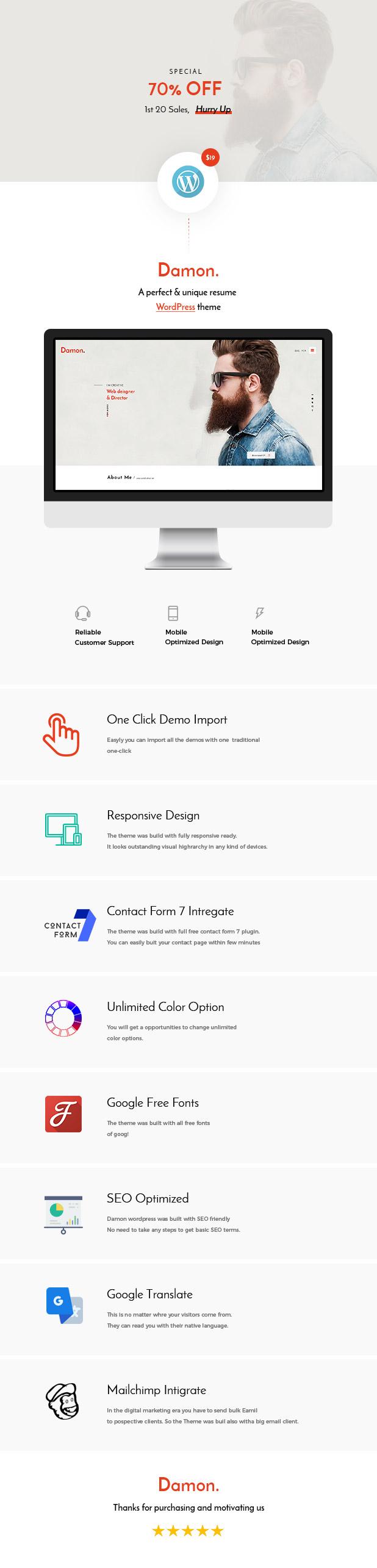 Download] Damon - Resume, Personal, CV, vCard WordPress Theme Nulled