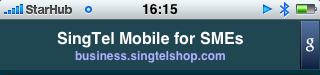 Google mobile ads banner for SingTel Mobile SME services