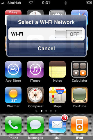 iPhone WiFi dialog suggestion, WiFi Off