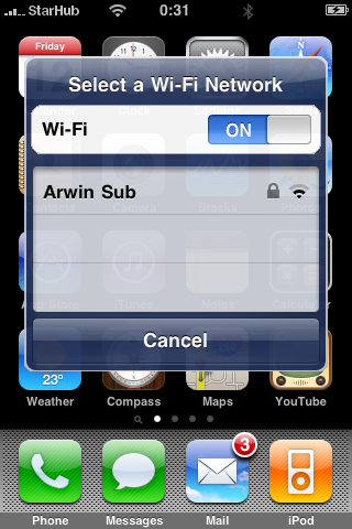 iPhone WiFi dialog suggestion, WiFi On