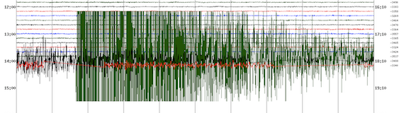 Virgina Tech seismograph scan of the August 23, 2011 earthquake near Mineral, Virginia.