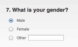 Gender options: male, female and other