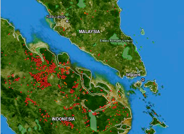 Fire location map of South Malaysia, Singapore and North Sumatra