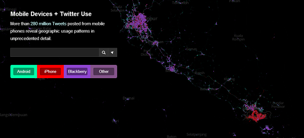 Image showing tweets by device, outline of singapore clearly visible, dominated by the color for iPhone