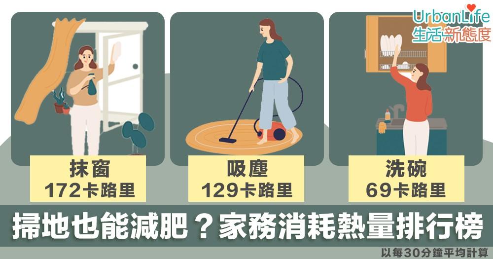 【做家務】掃地洗碗也能減肥?8樣常做家務消耗熱量排行榜