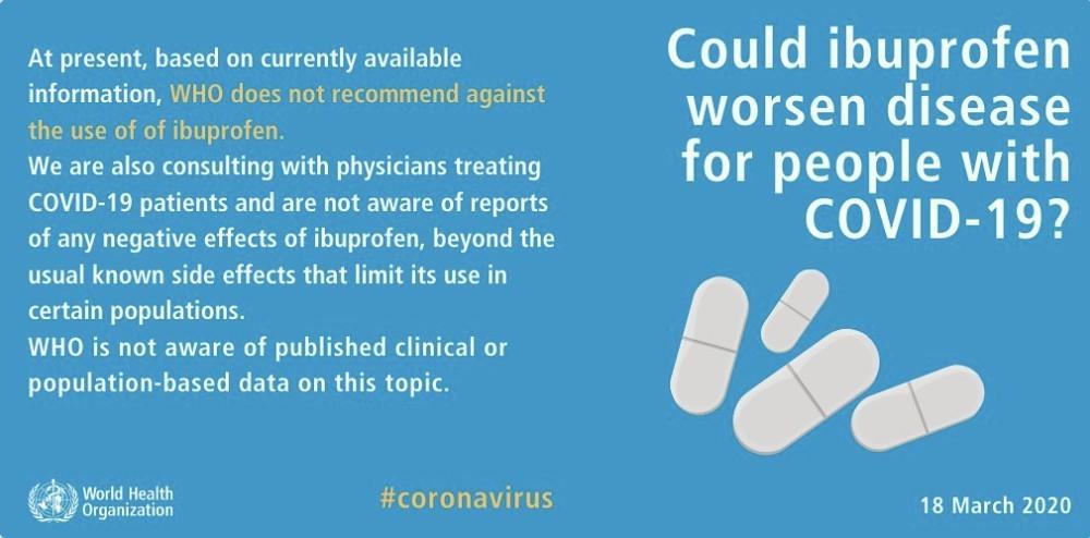 但現時仍未有未有公開的臨床數據證明布洛芬會令病毒惡化。而世衛之後亦在社交平台公布,根據現有醫學證據,不建議病人拒絕服用布洛芬(ibuprofen)。