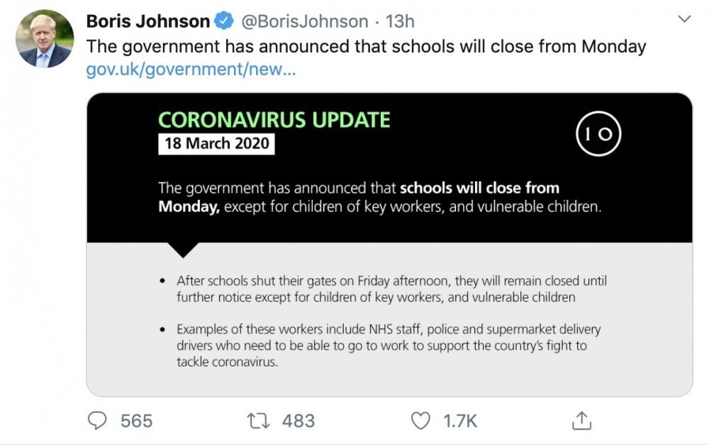 英國周三(18日)宣布,安排學校由周五(20日)起停課。