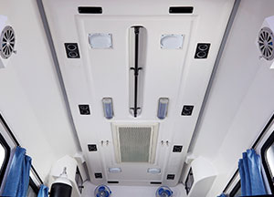 Roof mounted AC in Patient Compartment, Grab Rail, Roof mounted Lamps
