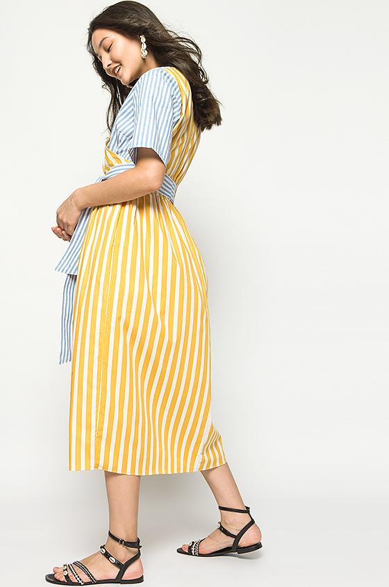 61c76dd3c96 Midi Mustard Striped Olwen