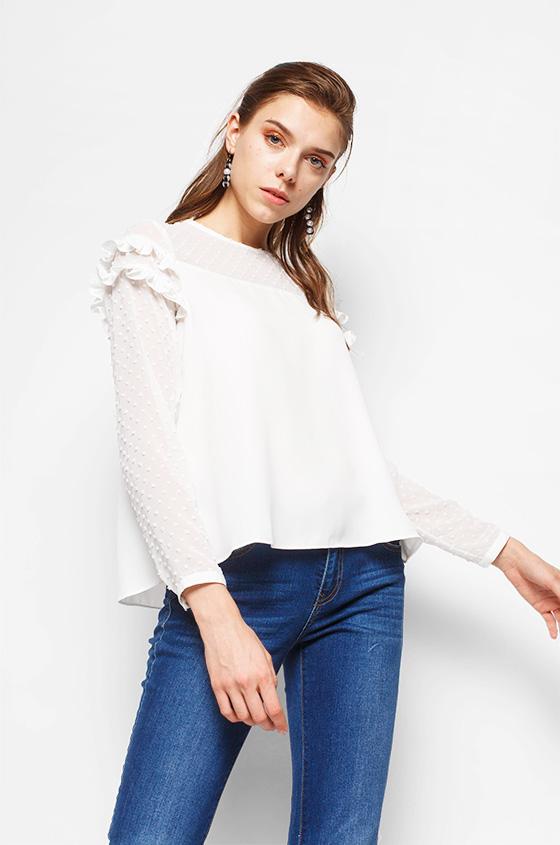 1007947b2f Woven Blouse Off-White Rosita