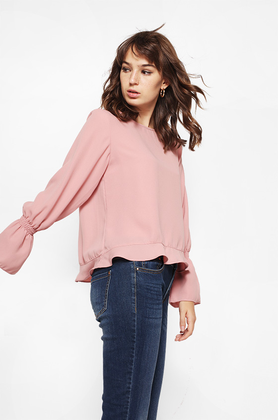 81d207d55a Woven Blouse Pink Delicia