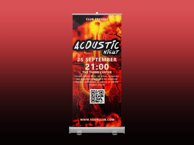 Acoustic Night Rollup banner, acoustic guitar, hot, fire, music, dancer, party, red, night, standee, rollup