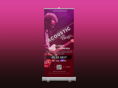 Acoustic Night Rollup banner, acoustic guitar, hot, music, dancer, party, night, standee, rollup,event