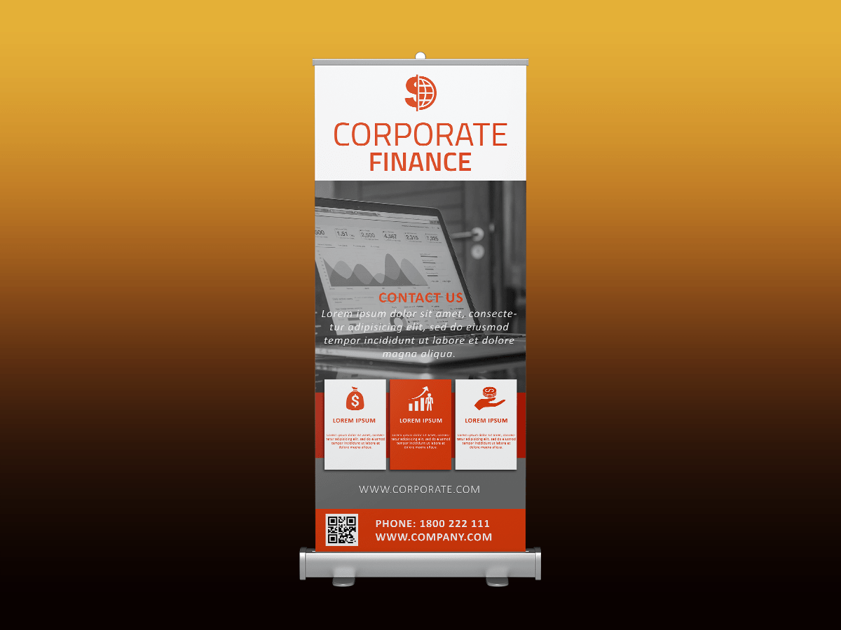 Corporate Finance Rollup banner, corporate, company, finance, business, meeting, event, office, rollup, standee, laptop, work