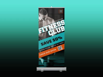 Fitness Club Rollup banner, fitness, club, gym, man, sale, black, strong