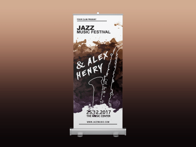 Jazz Music Festival Rollup banner, jazz, music, festival, event, party, night, rollup, standee
