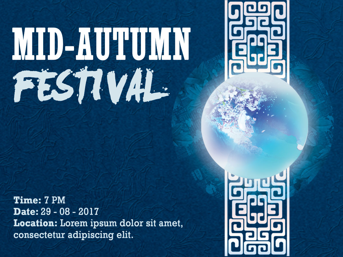 blue mid-autumn festival - social media template