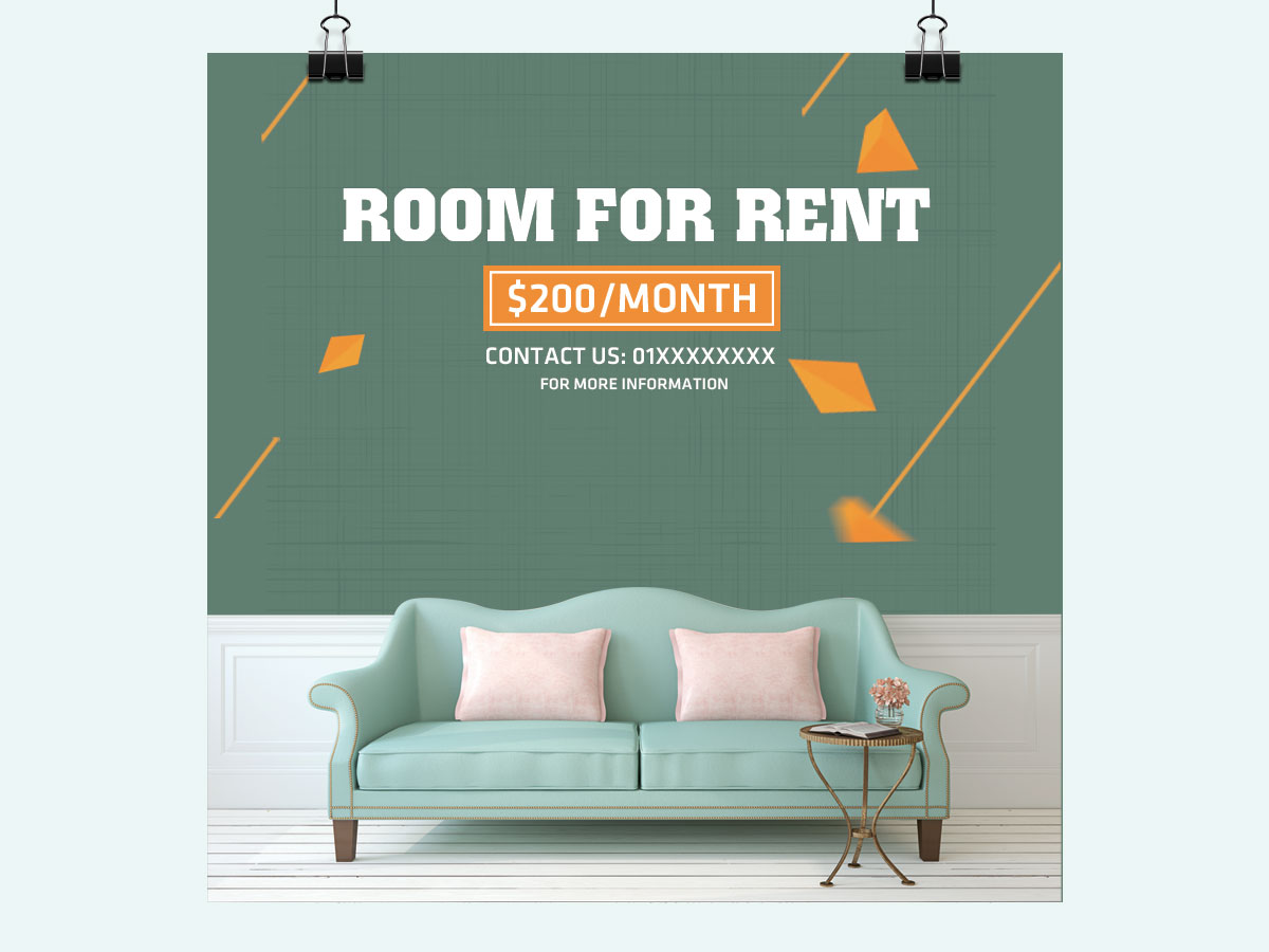 room for rent design template idea for social media
