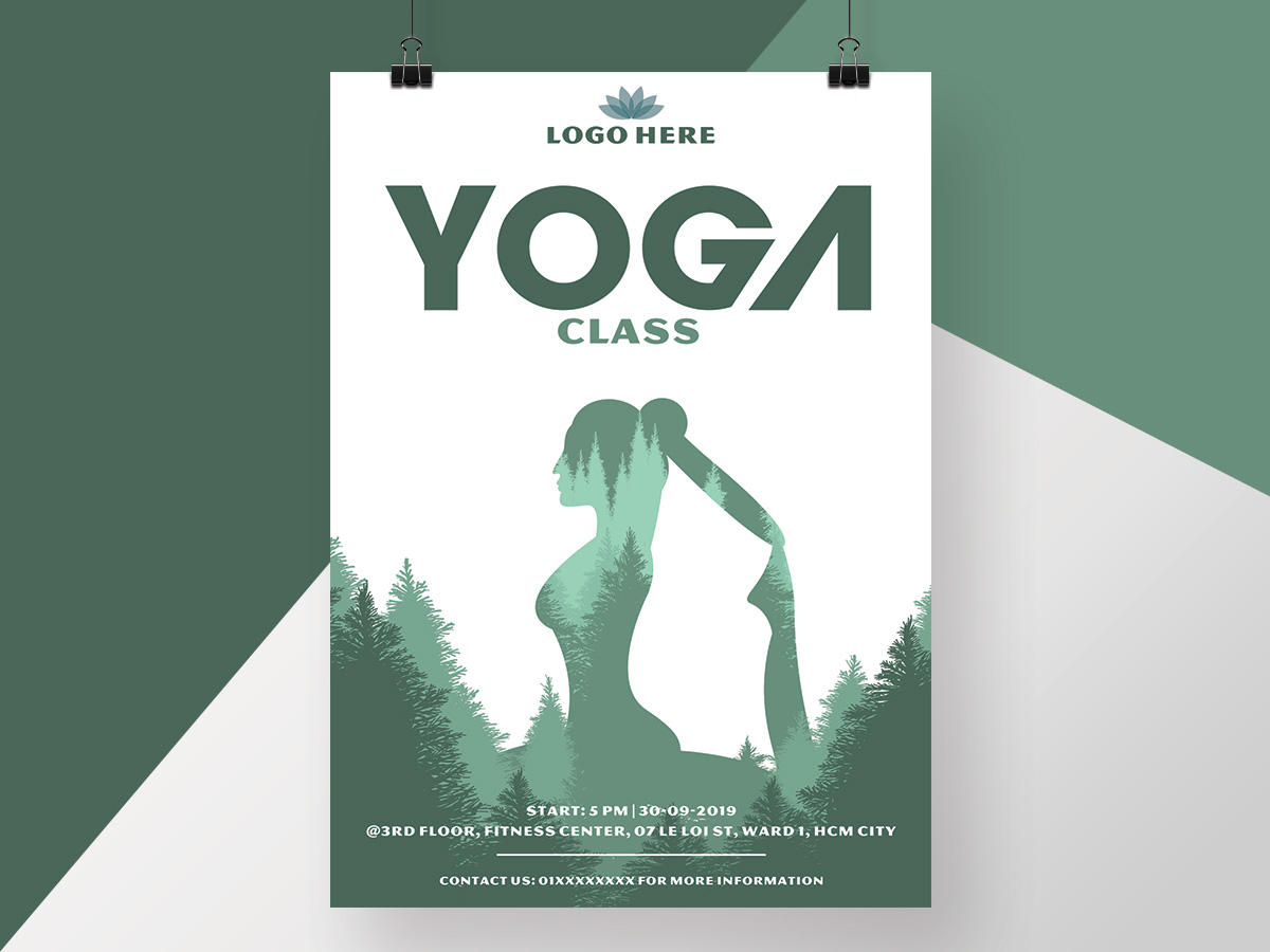 Yoga Class Poster Flyer Maketing Heathy Fitness