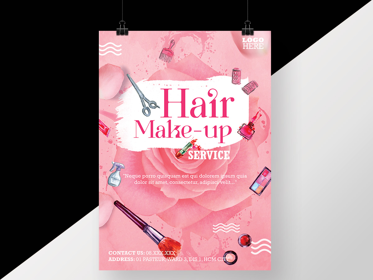 pink, hair, makeup, poster, flyer, service, beauty, girl, girly, beautiful