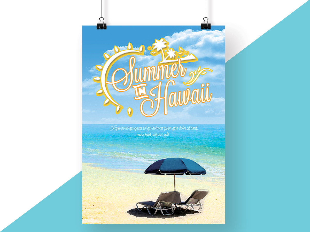 summer, hawaii, island, beach, sunshine, sun, fresh, blue, poster, flyer, relax, holiday, vacation