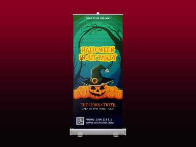 Halloween Night Party Rollup banner, halloween, devil, party, night, creepy, standee, pumpkin
