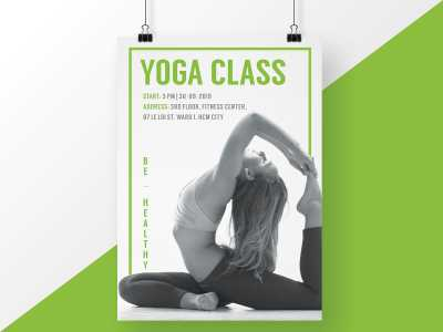 Green Yoga Class Poster Flyer Sport Healthy Beauty