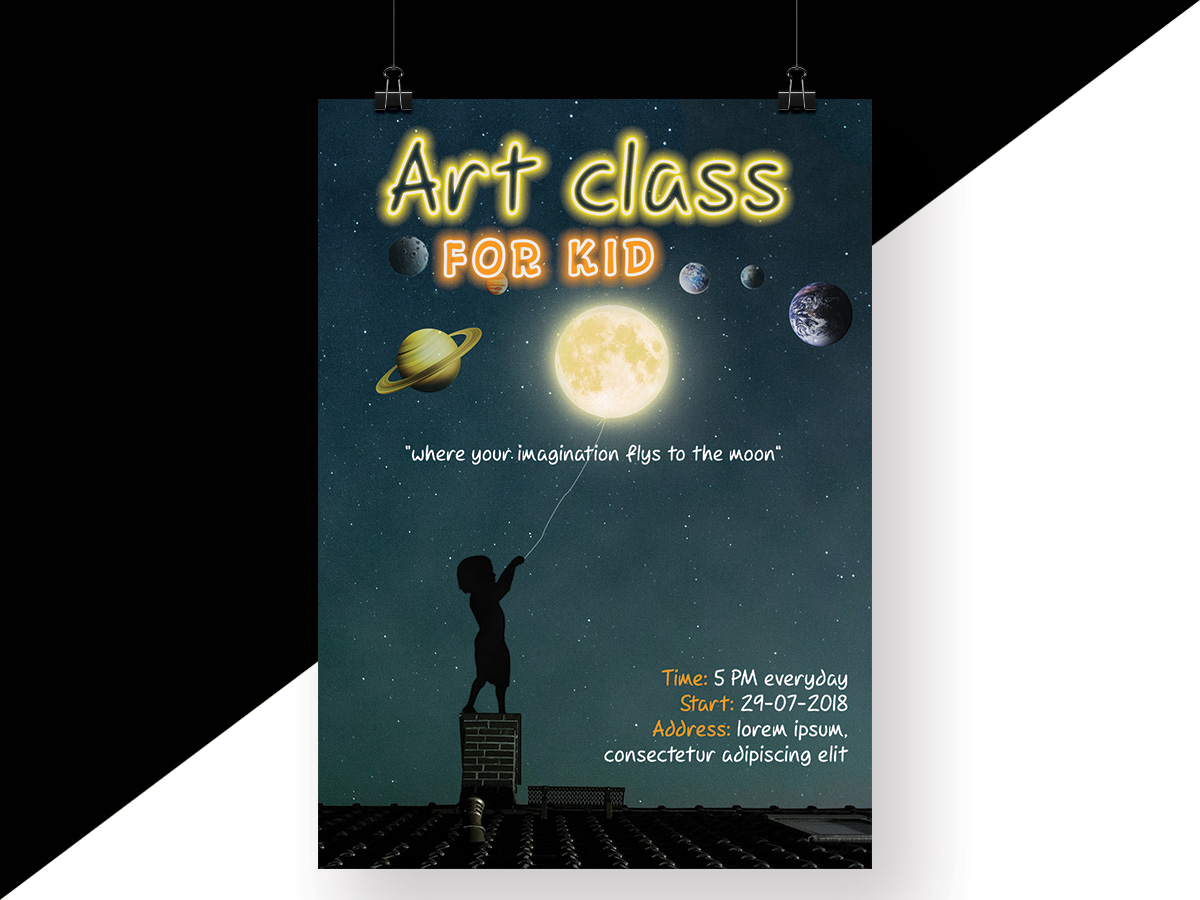 space, moon, art, class, kid, imagination, neon, galaxy, poster, flyer, baby, children